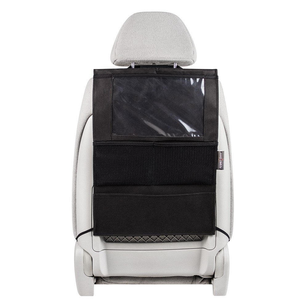 Органайзер Много Везу, на спинку сиденья, для планшета, 52 х 37 см. М 112кн12-60авцУдобный и вместительный органайзер помогает компактно разместить множество различных вещей в салоне автомобиля. Отделение для планшета сделано из специальной пленки, которая позволит управлять гаджетом не вынимая его. Жесткий верхний каркас позволяет всегда держать форму органайзера, а универсальный размер подойдет на сиденье любого автомобиля. Крепится на сиденье при помощи хлястиков с липучками. Имеет 4 кармана. Размеры: 37 х 52 см. Материал: спанбонд (плотность 100 гр/м2), прочная сетка, плёнка ПВХ