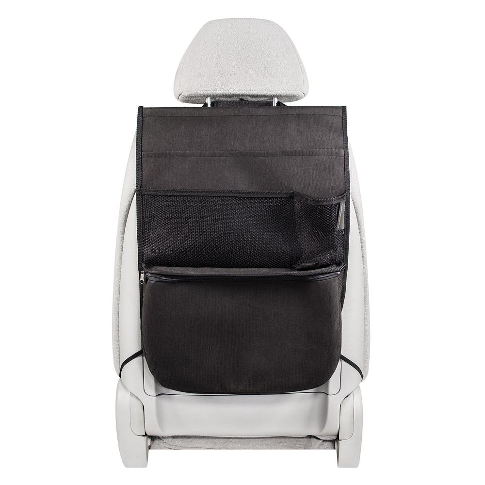 Органайзер Много Везу, на спинку сиденья, с термо-отделением, 55 х 40 х 8 см. М 115М 106- Жесткий верхний каркас- Универсальный размер- 4 кармана- Термо-отделениеУдобный и многофункциональный органайзер помогает компактно разместить множество различных вещей в салоне автомобиля. Вместительное нижнее термо-отделение удерживает холод или тепло. Жесткий верхний каркас позволяет всегда держать форму органайзера, а универсальный размер подойдет на сиденье любого автомобиля.Размеры: ширина — 40 см, высота — 55 см Размеры термо-отделения: ширина — 38 см, высота — 25 см, ширина дна — 8 см Материал: спанбонд (плотность 100 гр/м2), прочная сетка Цвет: черный