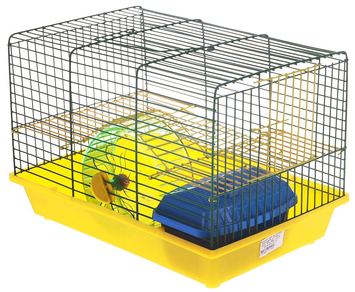 Клетка для грызунов Зоомарк Венеция, 2-этажная, цвет: желтый поддон, зеленая решетка, 36 х 23 х 24 см0120710Клетка Зоомарк Венеция, выполненная из полипропилена и металла, подходит для мелких грызунов. Изделие двухэтажное, оборудовано колесом для подвижных игр и пластиковым домиком. Клетка имеет яркий поддон, удобна в использовании и легко чистится. Сверху имеется ручка для переноски. Такая клетка станет уединенным личным пространством и уютным домиком для маленького грызуна.