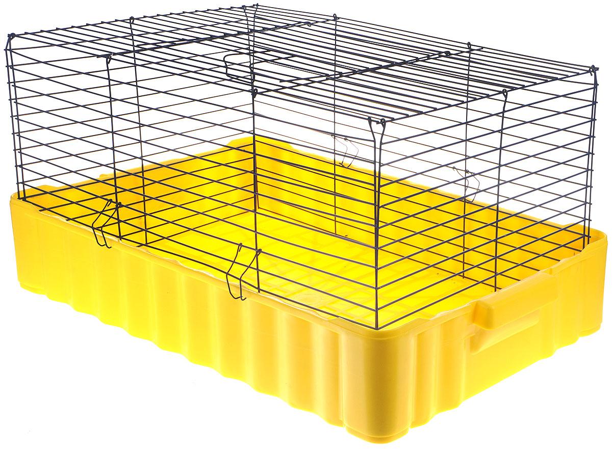 Клетка для кроликов ЗооМарк, цвет: желтый поддон, синяя решетка, 75 х 46 х 40 см0120710Клетка для кроликов ЗооМарк, выполненная из металла и пластика, предназначена для содержания вашего любимца. Клетка имеет прямоугольную форму и очень просторна. Размеры позволят оснастить клетку всеми необходимыми предметами. Она очень легко собирается и разбирается. Такая клетка станет для вашего питомца уютным домиком и надежным убежищем.