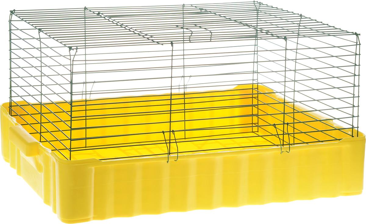 Клетка для кролика ЗооМарк, цвет: желтый поддон, зеленая решетка, 79 х 47 х 48 см0120710Классическая клетка ЗооМарк со сплошным дном станет уединенным личным пространством и уютным домиком для кролика. Изделие выполнено из металла и пластика. Клетка надежно закрывается на защелки. Легко чистится. Для более удобной транспортировки клетку можно сложить.