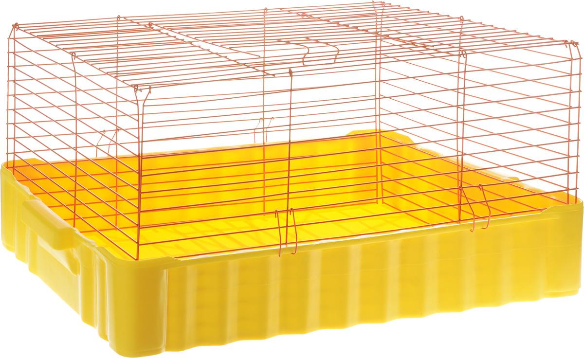 Клетка для кроликов ЗооМарк, цвет: желтый поддон, оранжевая решетка, 75 х 46 х 40 см0120710Клетка для кроликов ЗооМарк, выполненная из металла и пластика, предназначена для содержания вашего любимца. Клетка имеет прямоугольную форму и очень просторна. Размеры позволят оснастить клетку всеми необходимыми предметами. Она очень легко собирается и разбирается. Такая клетка станет для вашего питомца уютным домиком и надежным убежищем.