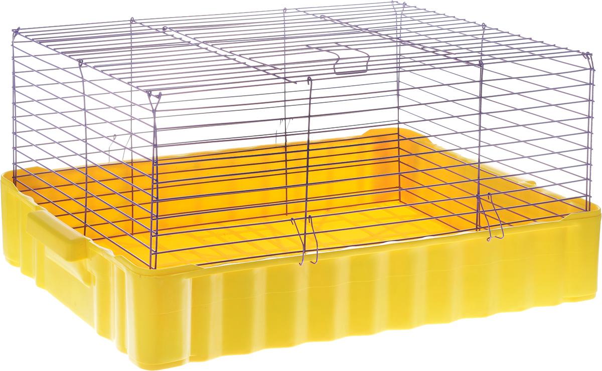 Клетка для кроликов ЗооМарк, цвет: желтый поддон, фиолетовая решетка, 75 х 46 х 40 см0120710Клетка для кроликов ЗооМарк, выполненная из металла и пластика, предназначена для содержания вашего любимца. Клетка имеет прямоугольную форму и очень просторна. Размеры позволят оснастить клетку всеми необходимыми предметами. Она очень легко собирается и разбирается. Такая клетка станет для вашего питомца уютным домиком и надежным убежищем.
