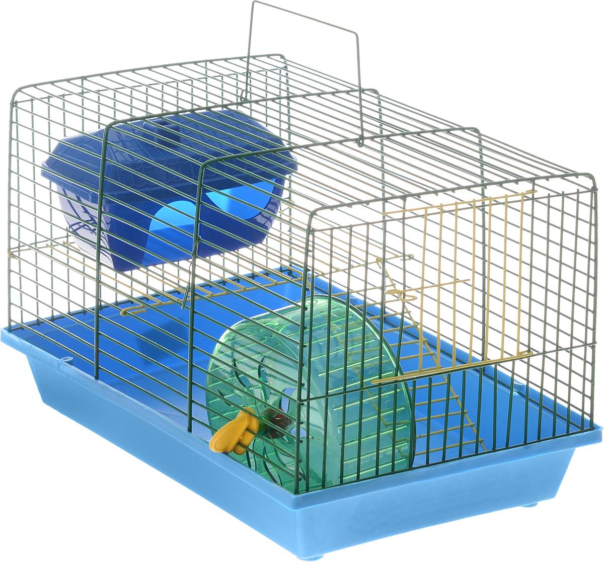 Клетка для грызунов ЗооМарк, 2-этажная, цвет: синий поддон, зеленая решетка, 36 х 22 х 24 смВТсКлетка ЗооМарк, выполненная из полипропилена и металла, подходит для мелких грызунов. Изделие двухэтажное, оборудовано колесом для подвижных игр и пластиковым домиком. Клетка имеет яркий поддон, удобна в использовании и легко чистится. Сверху имеется ручка для переноски, а сбоку удобная дверца.Такая клетка станет уединенным личным пространством и уютным домиком для маленького грызуна.