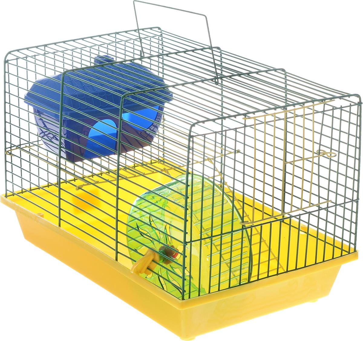 Клетка для грызунов ЗооМарк, 2-этажная, цвет: желтый поддон, зеленая решетка, 36 х 22 х 24 см0120710Клетка ЗооМарк, выполненная из полипропилена и металла, подходит для мелких грызунов. Изделие двухэтажное, оборудовано колесом для подвижных игр и пластиковым домиком. Клетка имеет яркий поддон, удобна в использовании и легко чистится. Сверху имеется ручка для переноски, а сбоку удобная дверца.Такая клетка станет уединенным личным пространством и уютным домиком для маленького грызуна.