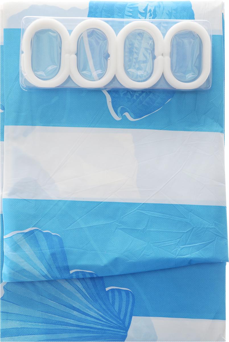 Штора в ванную 180х180см с 12 кольцами ракушки голубые18648Штора в ванную