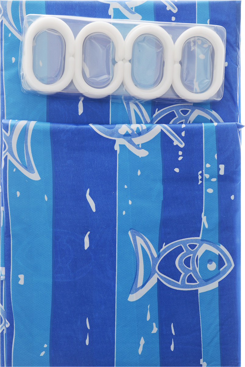 Штора в ванную 180х180см с 12 кольцами голубые рыбки с полоской531-105Штора в ванную
