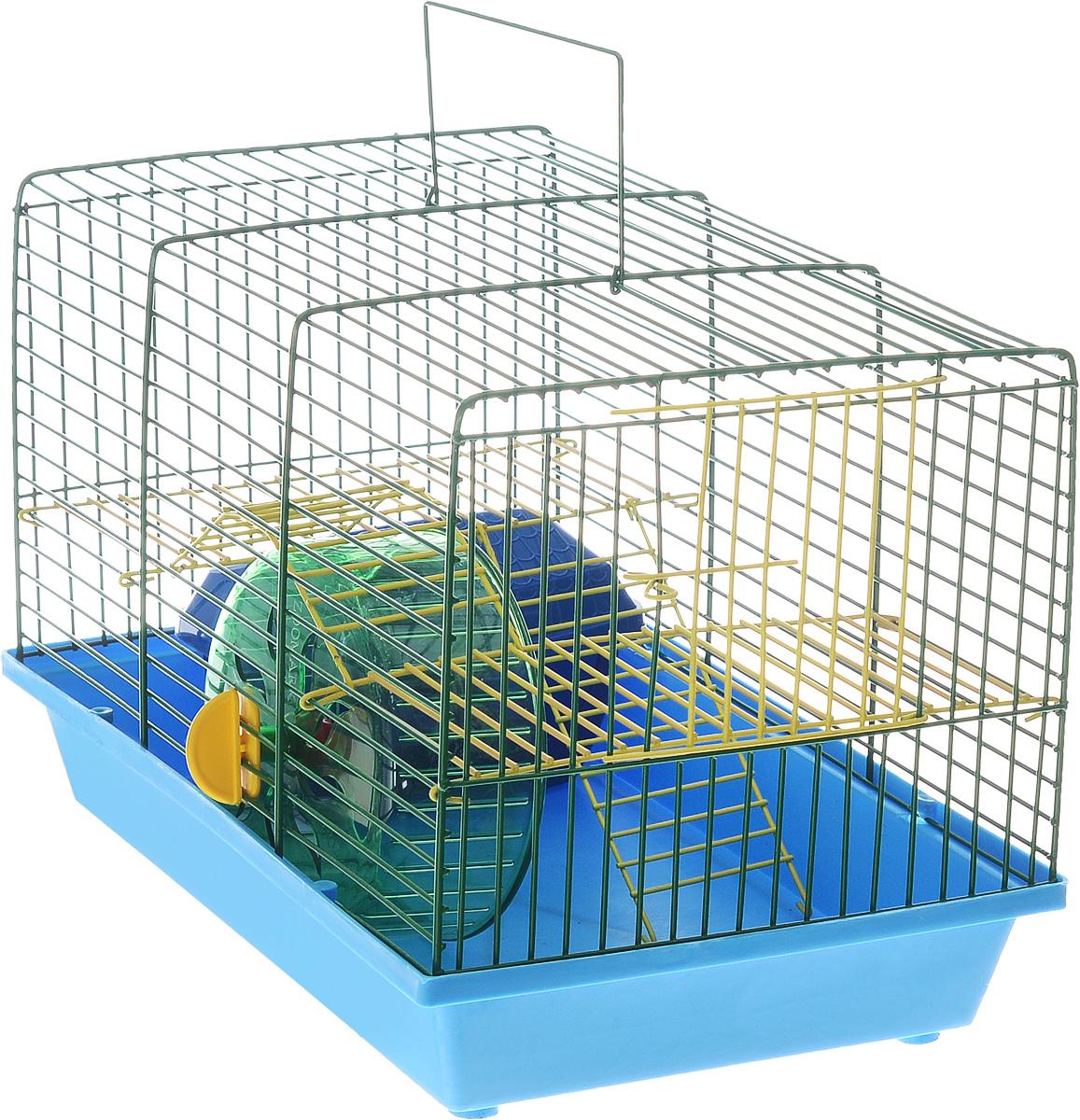 Клетка для грызунов Зоомарк Венеция, 2-этажная, цвет: синий поддон, зеленая решетка, 36 х 23 х 24 см135СОКлетка Зоомарк Венеция, выполненная из полипропилена и металла, подходит для мелких грызунов. Изделие двухэтажное, оборудовано колесом для подвижных игр и пластиковым домиком. Клетка имеет яркий поддон, удобна в использовании и легко чистится. Сверху имеется ручка для переноски. Такая клетка станет уединенным личным пространством и уютным домиком для маленького грызуна.