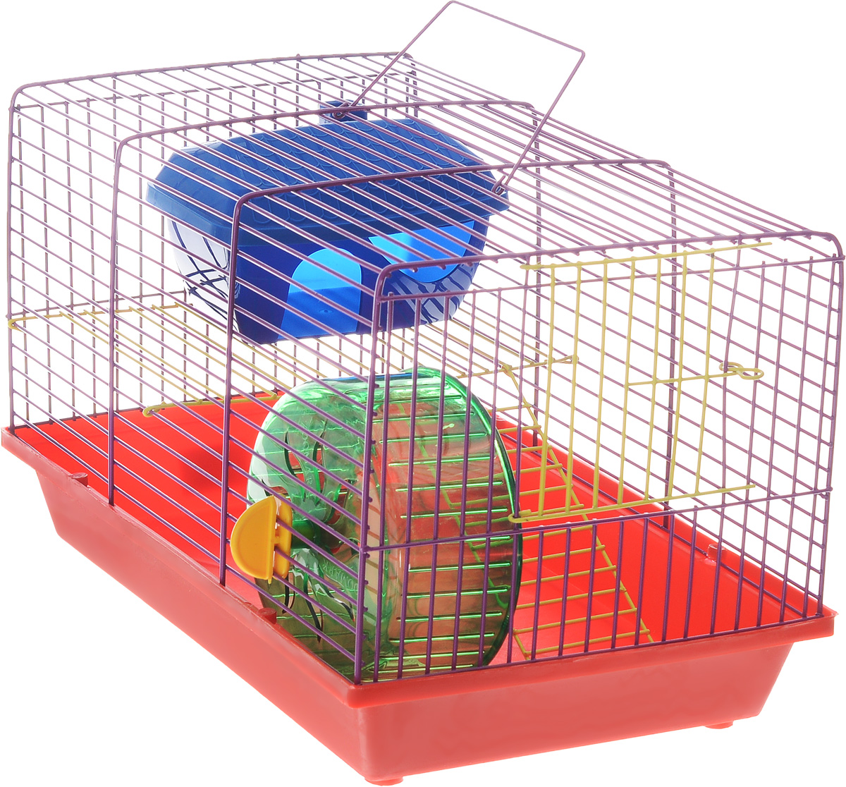 Клетка для грызунов ЗооМарк, 2-этажная, цвет: красный поддон, фиолетовая решетка, желтые этажи, 36 х 22 х 24 см. 125ж240КФКлетка ЗооМарк, выполненная из полипропилена и металла, подходит для мелких грызунов. Изделие двухэтажное, оборудовано колесом для подвижных игр и пластиковым домиком. Клетка имеет яркий поддон, удобна в использовании и легко чистится. Сверху имеется ручка для переноски. Такая клетка станет уединенным личным пространством и уютным домиком для маленького грызуна.
