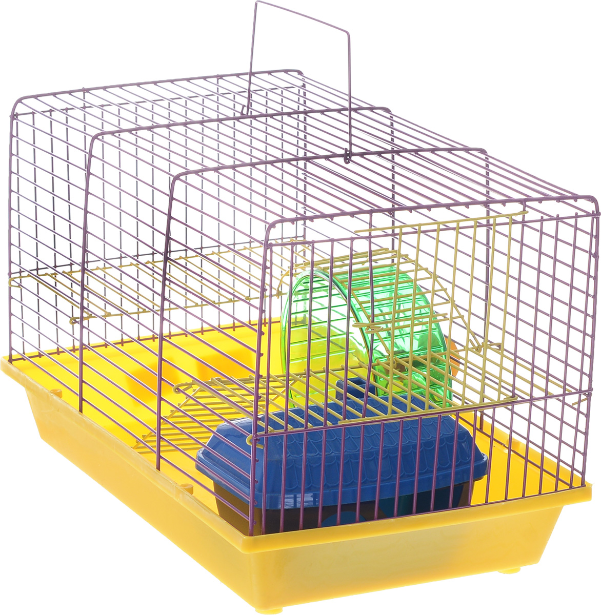 Клетка для грызунов Зоомарк  Венеция , 2-этажная, цвет: желтый поддон, фиолетовая решетка, 36 х 23 х 24 см