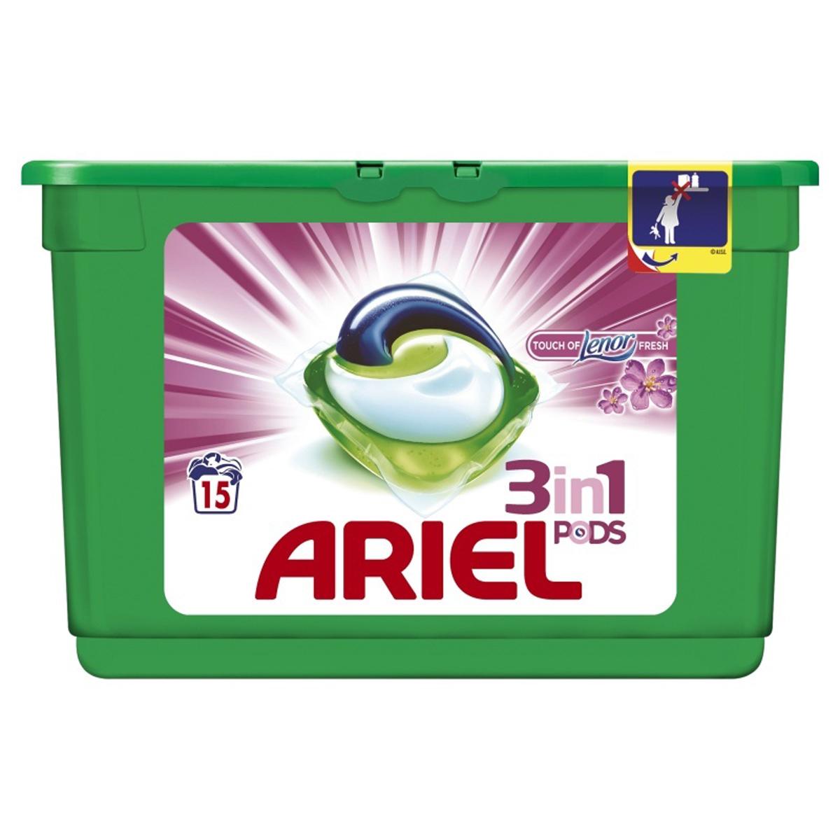 Гель в капсулах Ariel Touch of Lenor Fresh, 3 в 1, 15 шт106-026Гель в капсулах Ariel Touch of Lenor Fresh очищает, выводит пятна, придает яркость. Данное средство - это инновация! Первое средство для стирки с тремя раздельными компонентами, которые работают вместе. Они очищают, выводят пятна и придают тканям яркость. Компоненты находятся в отдельных секциях капсулы, что предотвращает их смешивание до начала стирки.Для наилучшего результата используйте вместе с кондиционером для белья Lenor.Состав: >30% анионные ПАВ; 5-15% неионогенные ПАВ, мыло; Товар сертифицирован.
