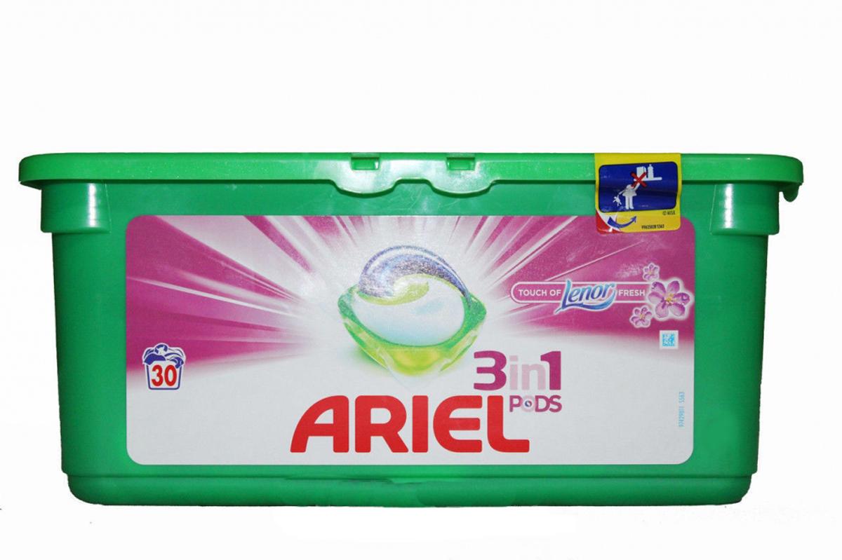 Гель в капсулах Ariel Touch of Lenor Fresh, 3 в 1, 30 штGC013/00Гель в капсулах Ariel Touch of Lenor Fresh очищает, выводит пятна, придает яркость. Данное средство - это инновация! Первое средство для стирки с тремя раздельными компонентами, которые работают вместе. Они очищают, выводят пятна и придают тканям яркость. Компоненты находятся в отдельных секциях капсулы, что предотвращает их смешивание до начала стирки.Для наилучшего результата используйте вместе с кондиционером для белья Lenor.Состав: >30% анионные ПАВ; 5-15% неионогенные ПАВ, мыло; Товар сертифицирован.