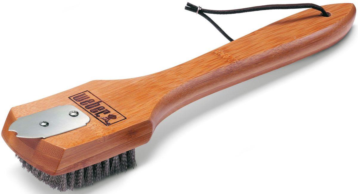 Щетка для гриля Weber, с бамбуковой ручкой, 30 см66650801Удобная щетка с металлической щетиной и скребком, поможет сохранять ваш гриль в чистоте. Жесткая щетина из нержавеющей сталиТвердая бамбуковая ручка длиной 30 смМеталлический скребок, для очистки нагара на решеткахКожаная петля для храненияПодходит для решеток из различных материалов: хром, фарфоровая эмаль, чугун, нержавеющая стальМыть в теплой мыльной воде (не рекомендуется использовать посудомоечную машину)