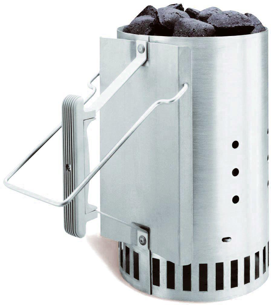 Труба-стартер для разжигания угля Weber7416Стартер для розжига угля Weber 7416 поможет Вам легко и быстро подготовить горячие угли для готовки на гриле. Просто набейте нижний отдел стартера бумагой, наполните верхний отдел углем и подожгите бумагу. Решетка конической формы обеспечит большую площадь воздействия пламени, что ускоряет горение угля. Рукоятка из термостойкого материала и раскладная проволочная ручка обеспечивают комфортное и безопасное использование стартера.