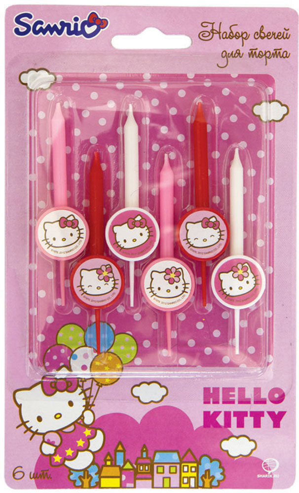 веселая затея конфетти гаваи 3 вида 34 г Веселая затея Свеча для торта Hello Kitty 6 шт
