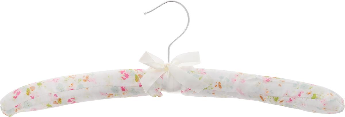 Вешалка для одежды HomeQueen, сатиновая, цвет: белый, розовый, зеленый, длина 39 см1004900000360Вешалка для одежды HomeQueen изготовлена из дерева и обтянута сатиновой тканью, снабжена закругленными плечиками и поворачивающимся металлическим крючком. Вешалка - незаменимая вещь для аккуратного хранения одежды. Размер вешалки: 39 х 3 х 14 см.