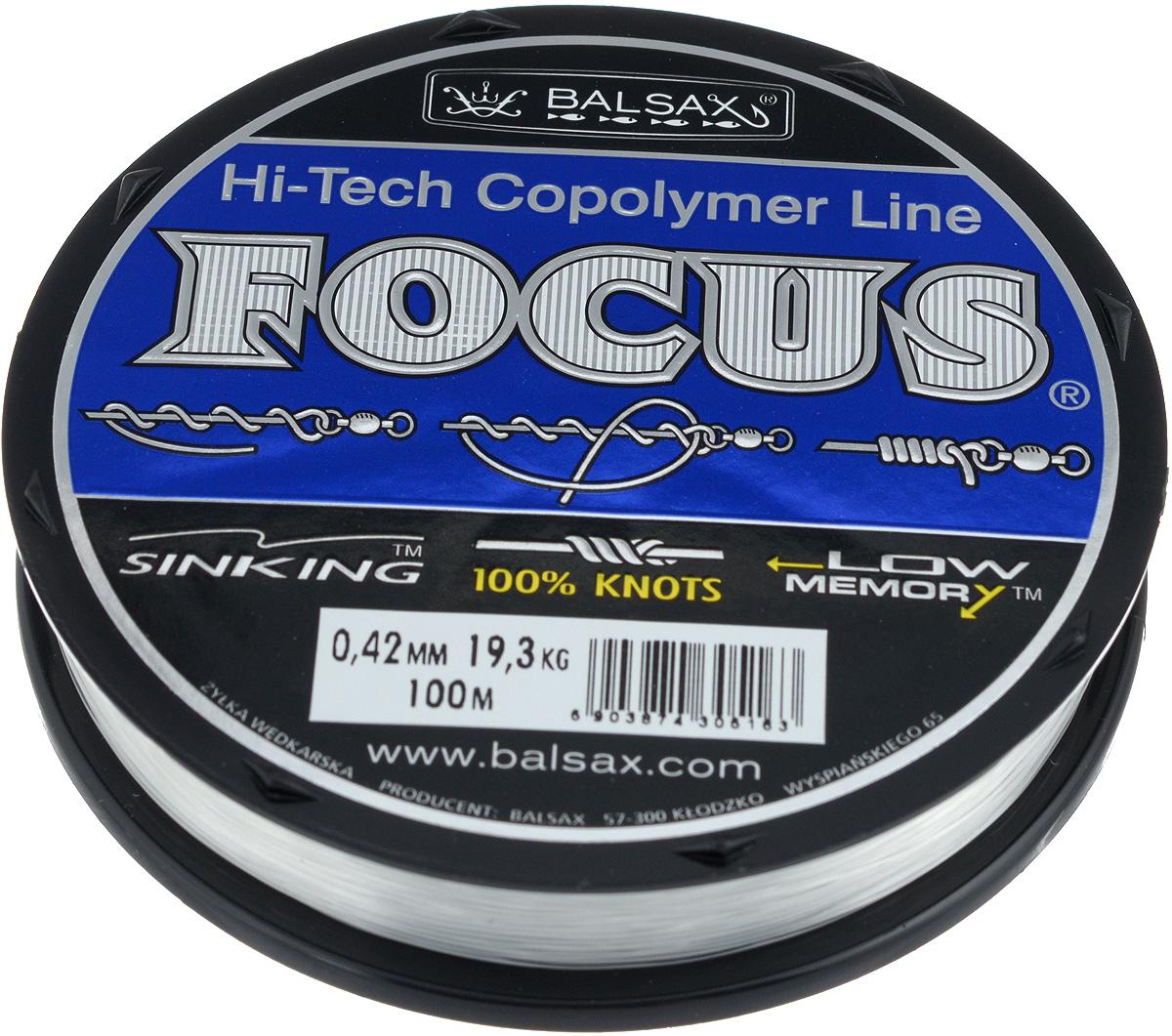 Леска Balsax Focus, 100 м, 0,42 мм, 19,3 кг010-01199-23Леска Balsax Focus практически идеально прозрачна, а значит, отлично подходит для ловли во всех водоемах, независимо от погодных условий. Очередной особенностью, повышающей достоинства данной лески, является ее стопроцентная сопротивляемость к деформации, что дает рыболовам уверенность в эффективных забросах, а также позволяет избежать безнадежного запутывания лески. Тесты на эластичность и упругость лески доказали, что последняя, пропорционально к другим особенностям, имеет необходимую растяжимость. Для рыболова это означает, что можно даже тащить очень крупную рыбу.