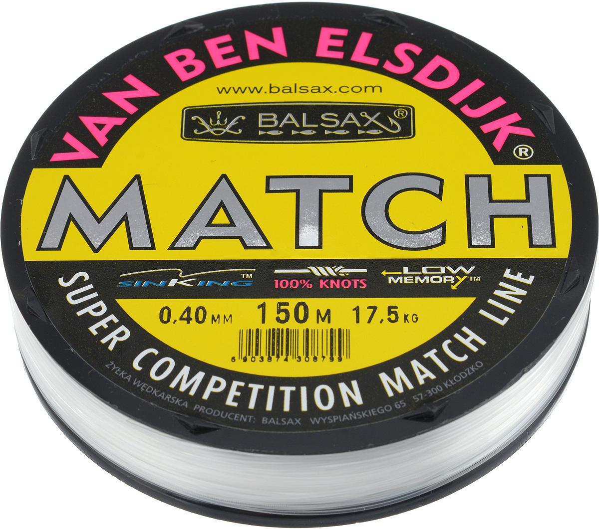 Леска Balsax Match VBE, 150 м, 0,40 мм, 17,5 кг59266Опытным спортсменам, участвующим в соревнованиях, нужна надежная леска, в которой можно быть уверенным в любой ситуации. Леска Balsax Match VBE отличается замечательной прочностью на узле и высокой сопротивляемостью к истиранию. Она была проверена на склонность к остаточным деформациям, чтобы убедиться в том, что она обладает наиболее подходящей растяжимостью, отвечая самым строгим требованиям рыболовов. Такая леска отлично подходит как для спортивного, так и для любительского рыболовства.