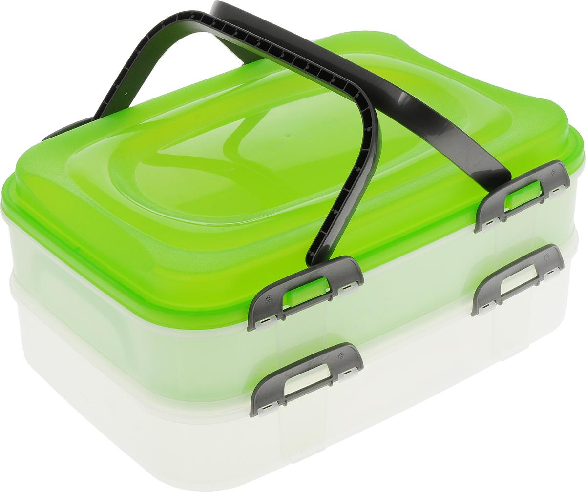 Набор контейнеров Axentia Бокс-сет, цвет: салатовый, прозрачный, 2 штSC-FD421004Набор Axentia Бокс-сет, изготовленный из высококачественного пластика, состоит из 2 пищевых контейнеров. Изделия оснащены крышками с застежками и удобными ручками. Идеально подходят для бизнес-ланчей.