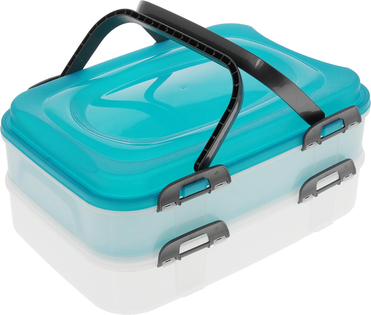 Набор контейнеров Axentia Бокс-сет, цвет: бирюзовый, прозрачный, 2 шт116833_бирюзовыйНабор Axentia Бокс-сет, изготовленный из высококачественного пластика, состоит из 2 пищевых контейнеров. Изделия оснащены крышками с застежками и удобными ручками. Идеально подходят для бизнес-ланчей.