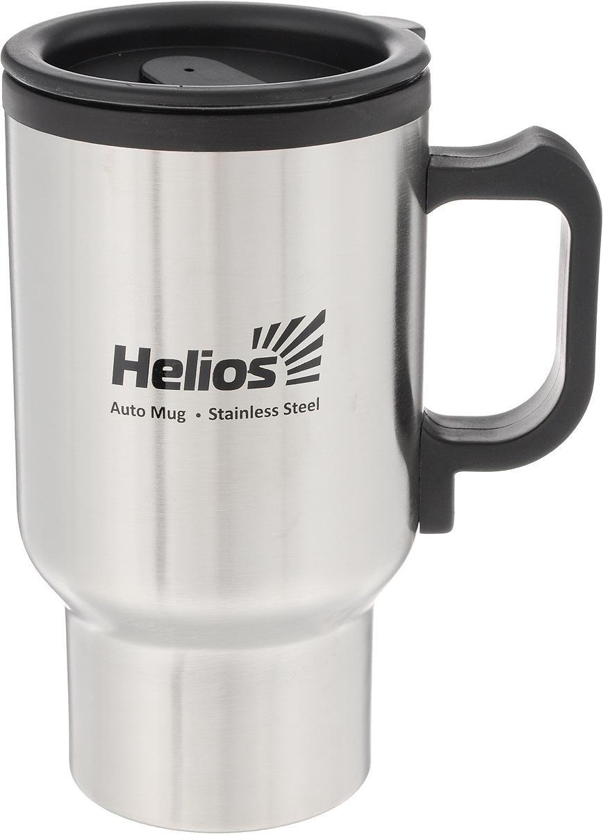 Термокружка для автомобиля HeliosHS TK-002, с подогревом,450 мл67743Термокружка Helios HS TK-002 предназначена специально для горячих и холодных напитков. Она изготовлена из высококачественной нержавеющей стали и пластика. Двойная стенка гарантирует долгое сохранение температуры и убережет от ожогов при заваривании чая или кофе. Крышка-поилка из термостойкого пластика предохраняет от проливания и не дает напитку остыть. Изделие подключается к стандартному автомобильному прикуривателю. Сохраняет напиток теплым, пока термокружка подключена к прикуривателю. Может подогреть жидкость до питьевой температуры.В комплект входят кабель питания и инструкция по эксплуатации. Такая кружка прекрасно сохраняет свою целостность и первозданный вид даже при многократном использовании. Диаметр кружки (по верхнему краю): 8,5 см. Высота кружки (без учета крышки): 16 см. Длина кабеля: 1,2 м. Длина штекера для прикуривателя: 7,5 см. Технические характеристики: Питание: 12 V DC. Постоянный ток: 2 А.Предохранитель: 250 V - 5 A.