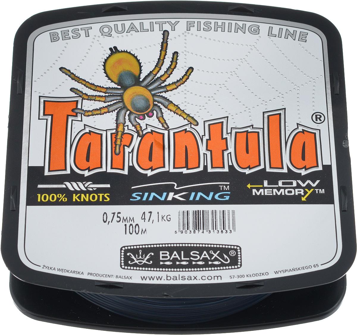 Леска Balsax Tarantula, 100 м, 0,75 мм, 47,1 кг010-01199-23Леска Balsax Tarantula выполнена из нейлоновой мононити. Новая молекулярная структура лески отличается повышенной сопротивляемостью к разрыву, но при этом она способна и растягиваться. Растяжимость в случае применения этой лески является отличным достоинством, особенно во время энергичной борьбы с рыбой, как амортизатор защищая оснастку от обрыва.
