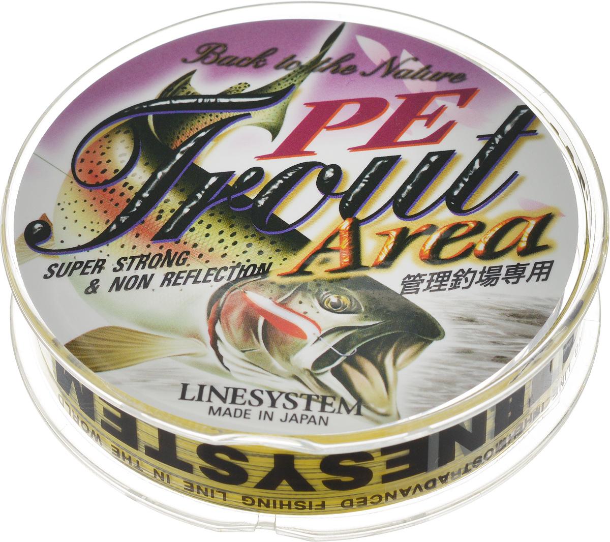 Шнур Trout Area  Linesystem , плетеный, цвет: желтый, черный, диаметр 0,05 мм, длина 75 м - Рыбалка