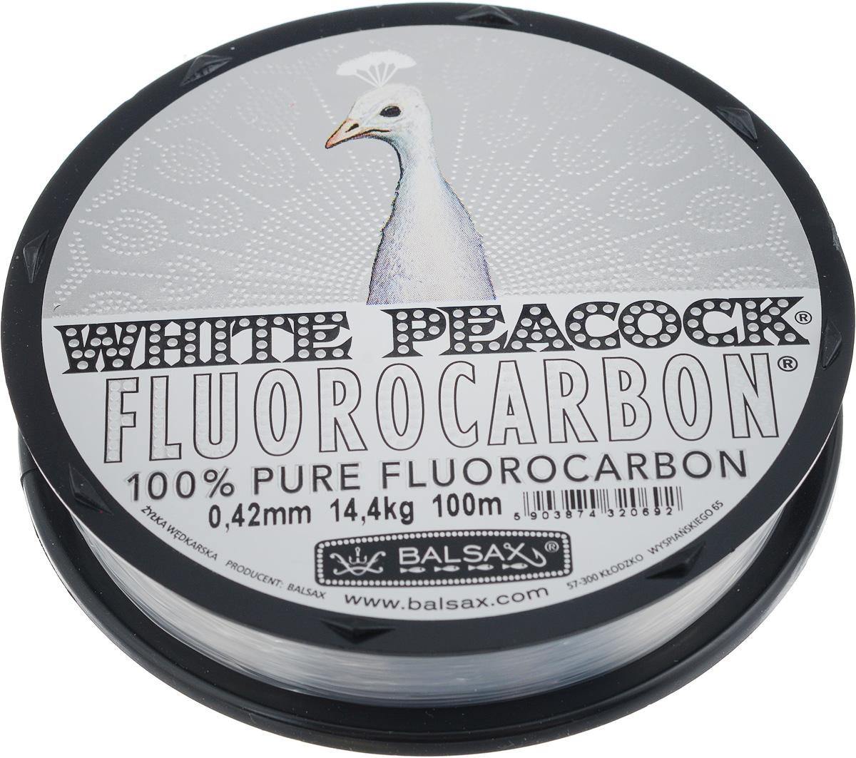 Леска флюорокарбоновая Balsax White Peacock, 100 м, 0,42 мм, 14,4 кгPP092MGR008Флюорокарбоновая леска Balsax White Peacock становится абсолютно невидимой в воде. Обычные лески отражают световые лучи, поэтому рыбы их обнаруживают. Флюорокарбон имеет приближенный к воде коэффициент преломления, поэтому пропускает сквозь себя свет, не давая отражений. Рыбы не видят флюорокарбон. Многие рыболовы во всем мире используют подобные лески в качестве поводковых, благодаря чему получают более лучшие результаты.Флюорокарбон на 50% тяжелее обычных лесок и на 78% тяжелее воды. Понятно, почему этот материал используется для рыболовных лесок, он тонет очень быстро. Флюорокарбон не впитывает воду даже через 100 часов нахождения в ней. Обычные лески впитывают до 10% воды в течение 24 часов, что приводит к потере 5 - 10% прочности. Сопротивляемость флюорокарбона к истиранию значительно больше, чем у обычных лесок. Он выдерживает температуры от -40°C до +160°C.