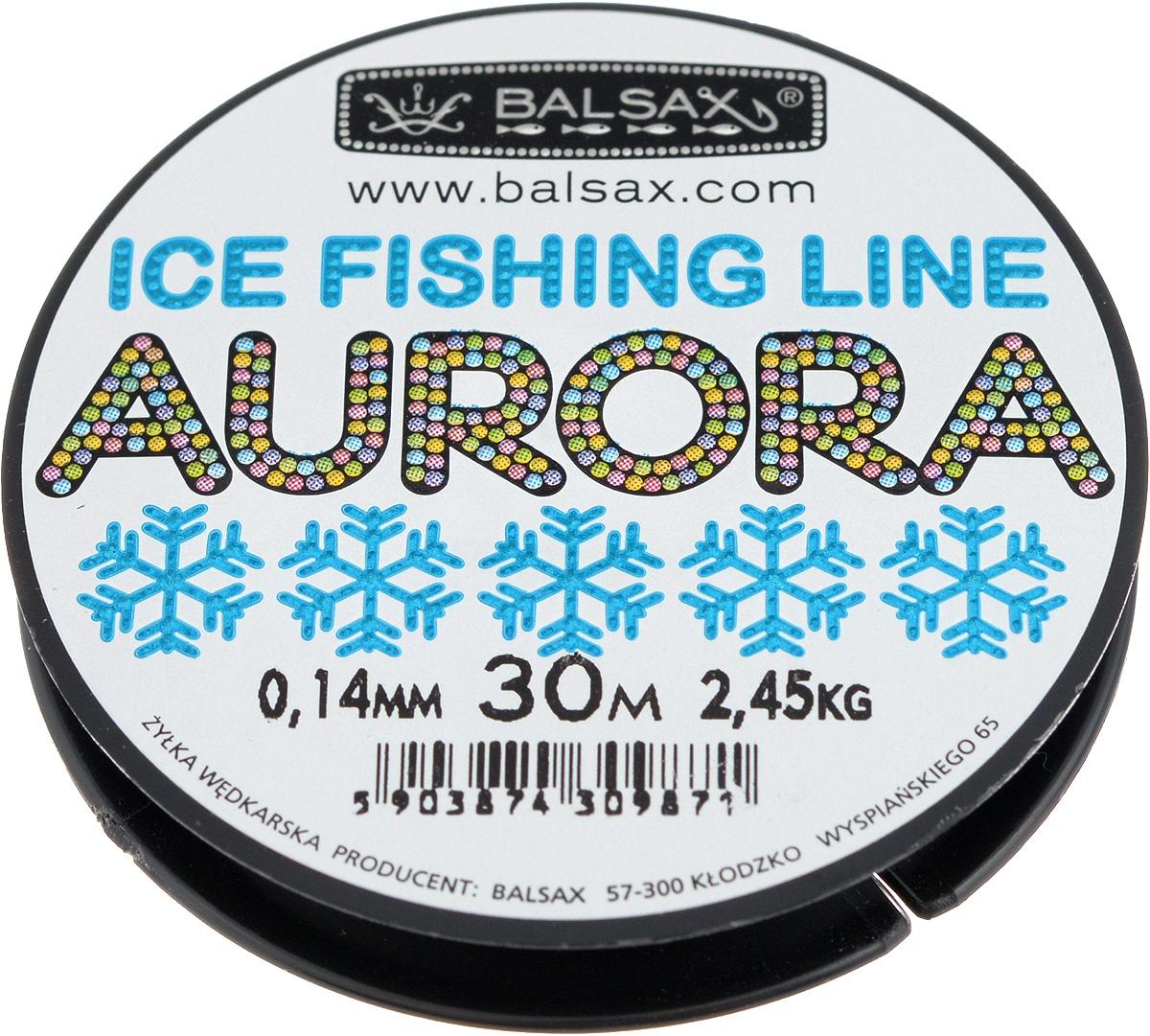Леска зимняя Balsax Aurora, 30 м, 0,14 мм, 2,45 кг59278Леска Balsax Aurora изготовлена из 100% нейлона и очень хорошо выдерживает низкие температуры. Даже в самом холодном климате, при температуре вплоть до -40°C, она сохраняет свои свойства практически без изменений, в то время как традиционные лески становятся менее эластичными и теряют прочность.Поверхность лески обработана таким образом, что она не обмерзает и отлично подходит для подледного лова. Прочна в местах вязки узлов даже при минимальном диаметре.