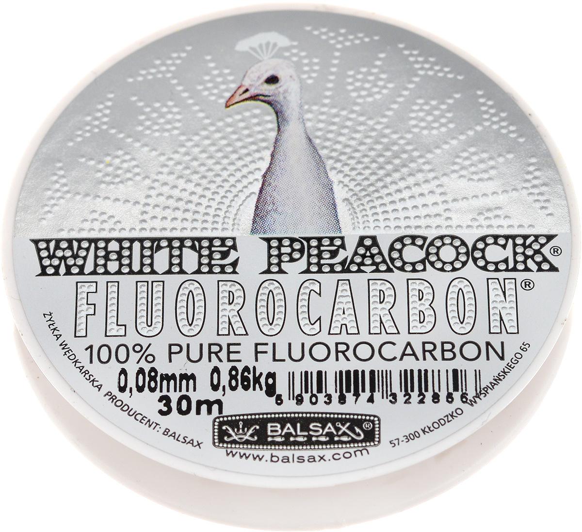 Леска флюорокарбоновая Balsax White Peacock, 30 м, 0,08 мм, 0,86 кг314-08042Флюорокарбоновая леска Balsax White Peacock становится абсолютно невидимой в воде. Обычные лески отражают световые лучи, поэтому рыбы их обнаруживают. Флюорокарбон имеет приближенный к воде коэффициент преломления, поэтому пропускает сквозь себя свет, не давая отражений. Рыбы не видят флюорокарбон. Многие рыболовы во всем мире используют подобные лески в качестве поводковых, благодаря чему получают более лучшие результаты.Флюорокарбон на 50% тяжелее обычных лесок и на 78% тяжелее воды. Понятно, почему этот материал используется для рыболовных лесок, он тонет очень быстро. Флюорокарбон не впитывает воду даже через 100 часов нахождения в ней. Обычные лески впитывают до 10% воды в течение 24 часов, что приводит к потере 5 - 10% прочности. Сопротивляемость флюорокарбона к истиранию значительно больше, чем у обычных лесок. Он выдерживает температуры от -40°C до +160°C.