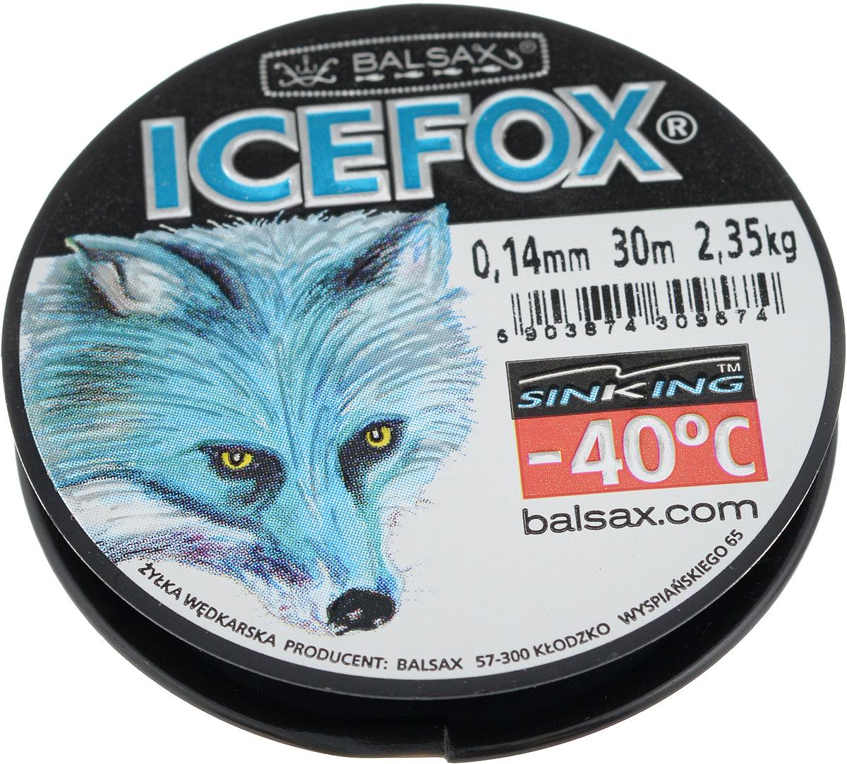 Леска зимняя Balsax Ice Fox,30 м, 0,14 мм, 2,35 кг304-10025Леска Balsax Ice Fox изготовлена из 100% нейлона и очень хорошо выдерживает низкие температуры. Даже в самом холодном климате, при температуре вплоть до -40°C, она сохраняет свои свойства практически без изменений, в то время как традиционные лески становятся менее эластичными и теряют прочность.Поверхность лески обработана таким образом, что она не обмерзает и отлично подходит для подледного лова. Прочна в местах вязки узлов даже при минимальном диаметре.