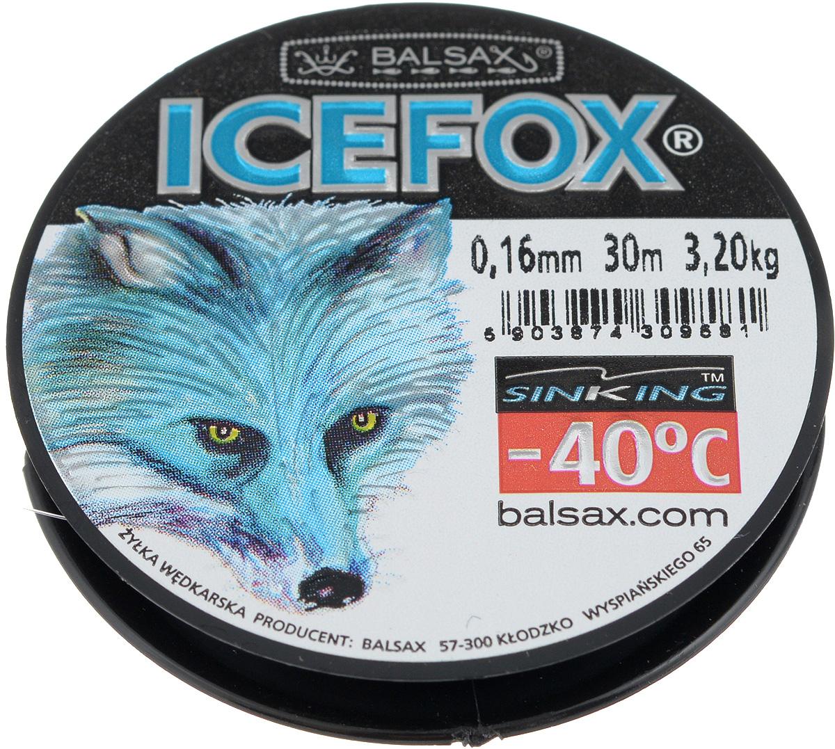 Леска зимняя Balsax Ice Fox, 30 м, 0,16 мм, 3,2 кг61168Леска Balsax Ice Fox изготовлена из 100% нейлона и очень хорошо выдерживает низкие температуры. Даже в самом холодном климате, при температуре вплоть до -40°C, она сохраняет свои свойства практически без изменений, в то время как традиционные лески становятся менее эластичными и теряют прочность.Поверхность лески обработана таким образом, что она не обмерзает и отлично подходит для подледного лова. Прочна в местах вязки узлов даже при минимальном диаметре.