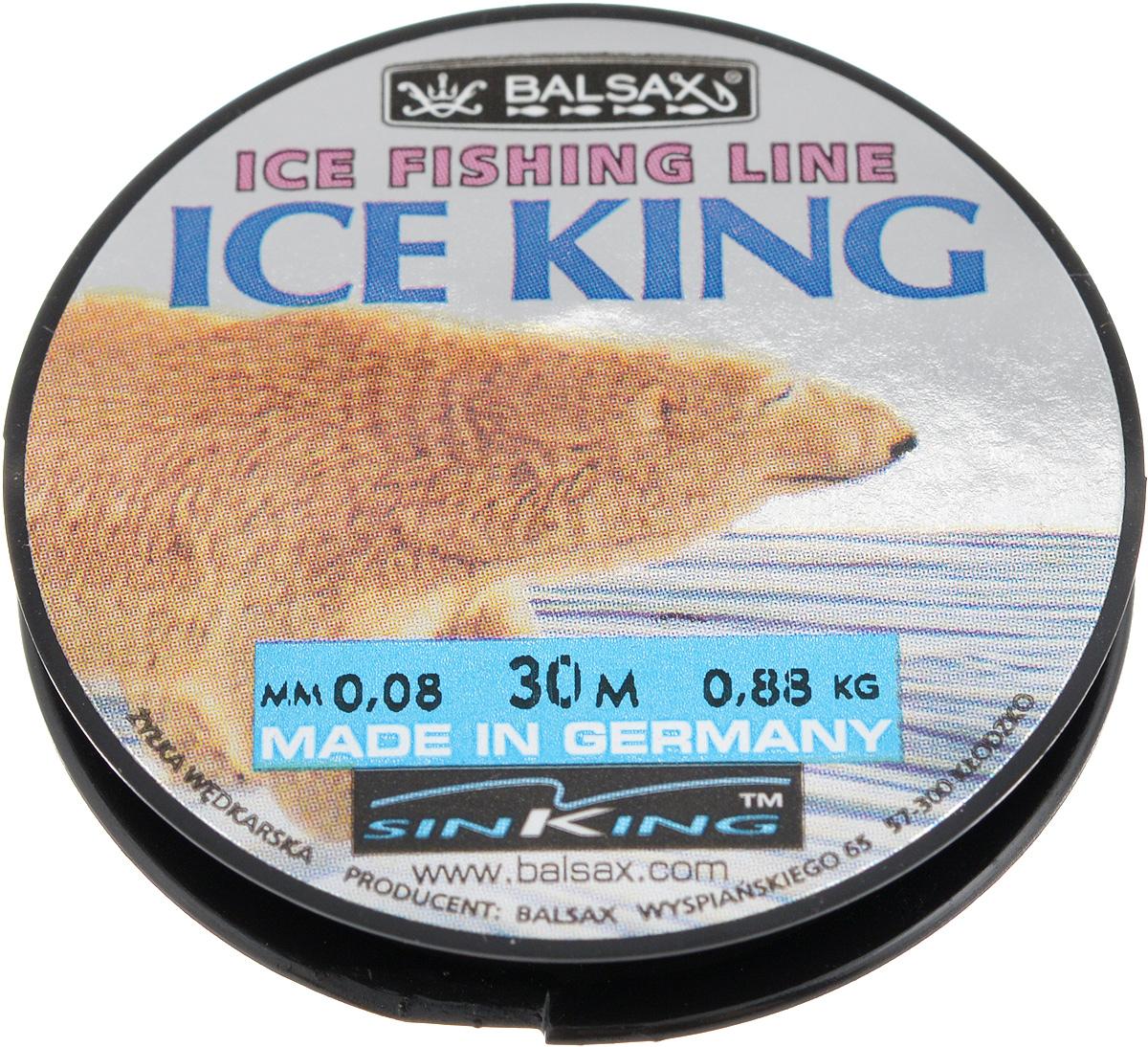 Леска зимняя Balsax Ice King, 30 м, 0,08 мм, 0,88 кг312-07012Леска Balsax Ice King изготовлена из 100% нейлона и очень хорошо выдерживает низкие температуры. Даже в самом холодном климате, при температуре вплоть до -40°C, она сохраняет свои свойства практически без изменений, в то время как традиционные лески становятся менее эластичными и теряют прочность.Поверхность лески обработана таким образом, что она не обмерзает и отлично подходит для подледного лова. Прочна в местах вязки узлов даже при минимальном диаметре.