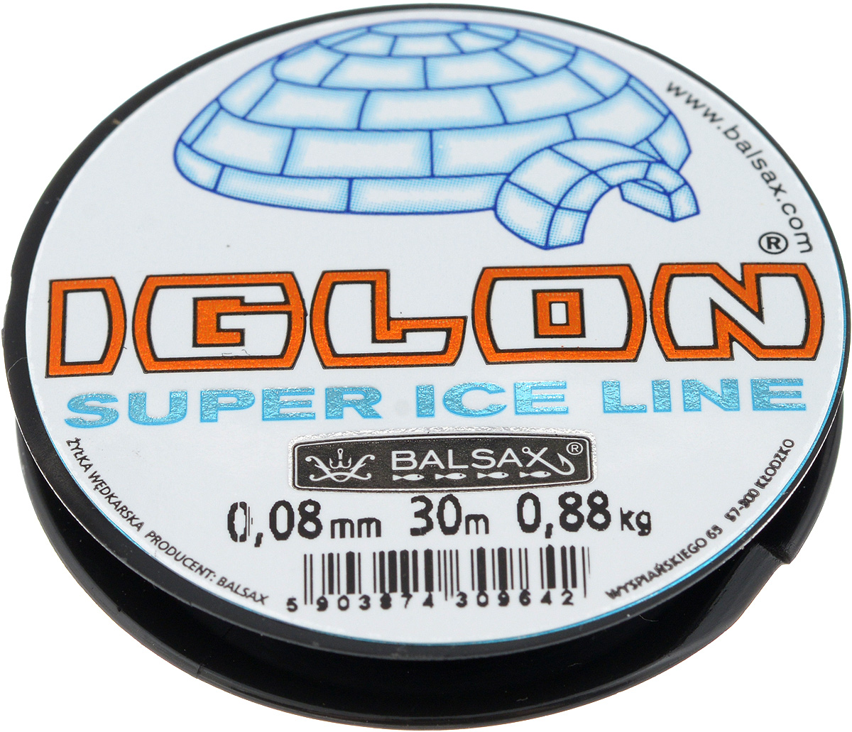 Леска зимняя Balsax Iglon, 30 м, 0,08 мм, 0,88 кг30065Леска Balsax Iglon изготовлена из 100% нейлона и очень хорошо выдерживает низкие температуры. Даже в самом холодном климате, при температуре вплоть до -40°C, она сохраняет свои свойства практически без изменений, в то время как традиционные лески становятся менее эластичными и теряют прочность.Поверхность лески обработана таким образом, что она не обмерзает и отлично подходит для подледного лова. Прочна в местах вязки узлов даже при минимальном диаметре.