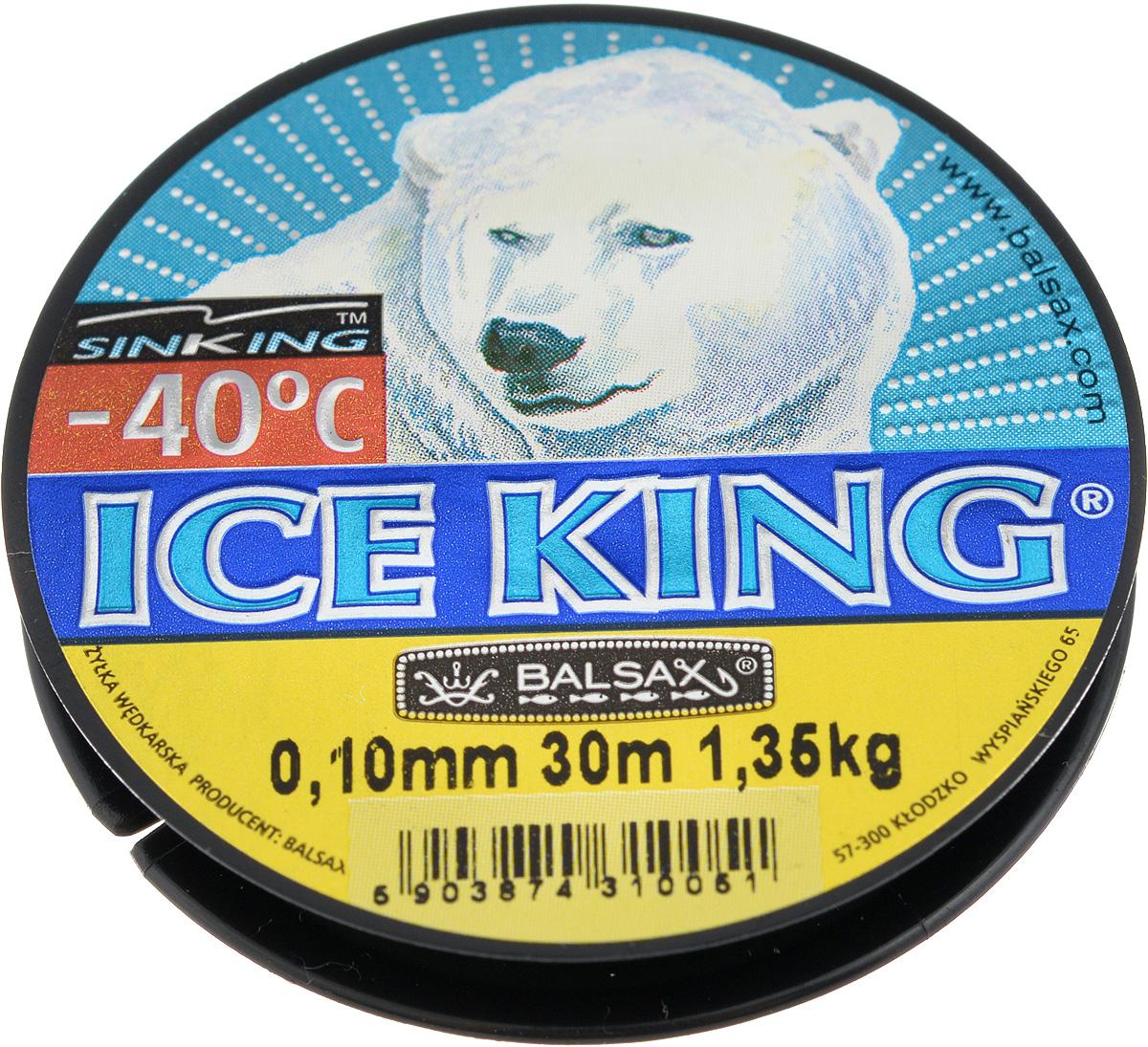 Леска зимняя Balsax Ice King, 30 м, 0,10 мм, 1,35 кг1232695Леска Balsax Ice King изготовлена из 100% нейлона и очень хорошо выдерживает низкие температуры. Даже в самом холодном климате, при температуре вплоть до -40°C, она сохраняет свои свойства практически без изменений, в то время как традиционные лески становятся менее эластичными и теряют прочность.Поверхность лески обработана таким образом, что она не обмерзает и отлично подходит для подледного лова. Прочна в местах вязки узлов даже при минимальном диаметре.