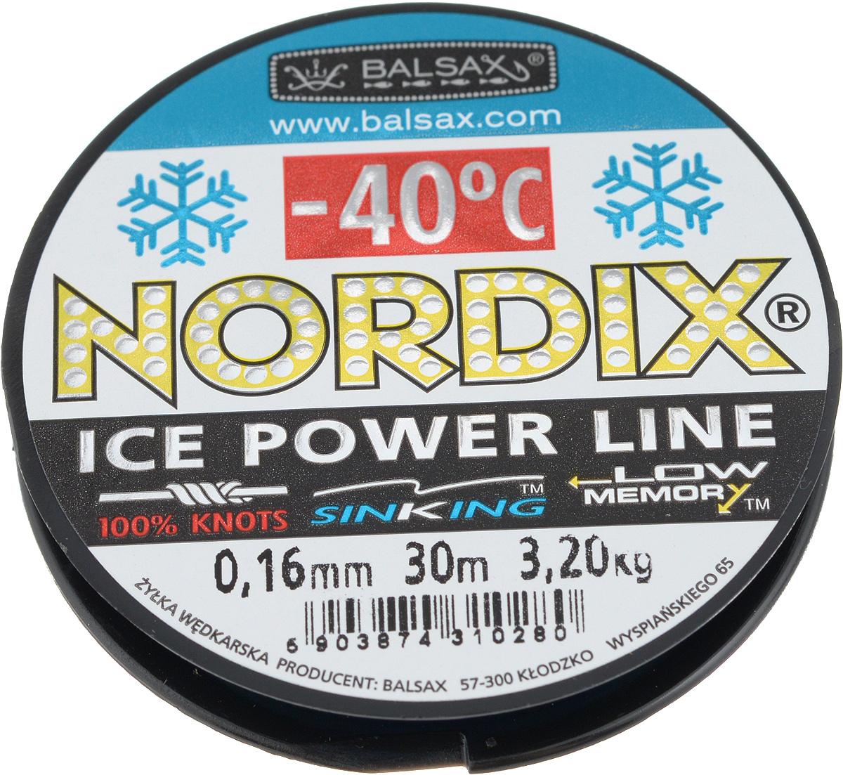 Леска зимняя Balsax Nordix, 30 м, 0,16 мм, 3,2 кг607-05004Леска Balsax Nordix изготовлена из 100% нейлона и очень хорошо выдерживает низкие температуры. Даже в самом холодном климате, при температуре вплоть до -40°C, она сохраняет свои свойства практически без изменений, в то время как традиционные лески становятся менее эластичными и теряют прочность.Поверхность лески обработана таким образом, что она не обмерзает и отлично подходит для подледного лова. Прочна в местах вязки узлов даже при минимальном диаметре.