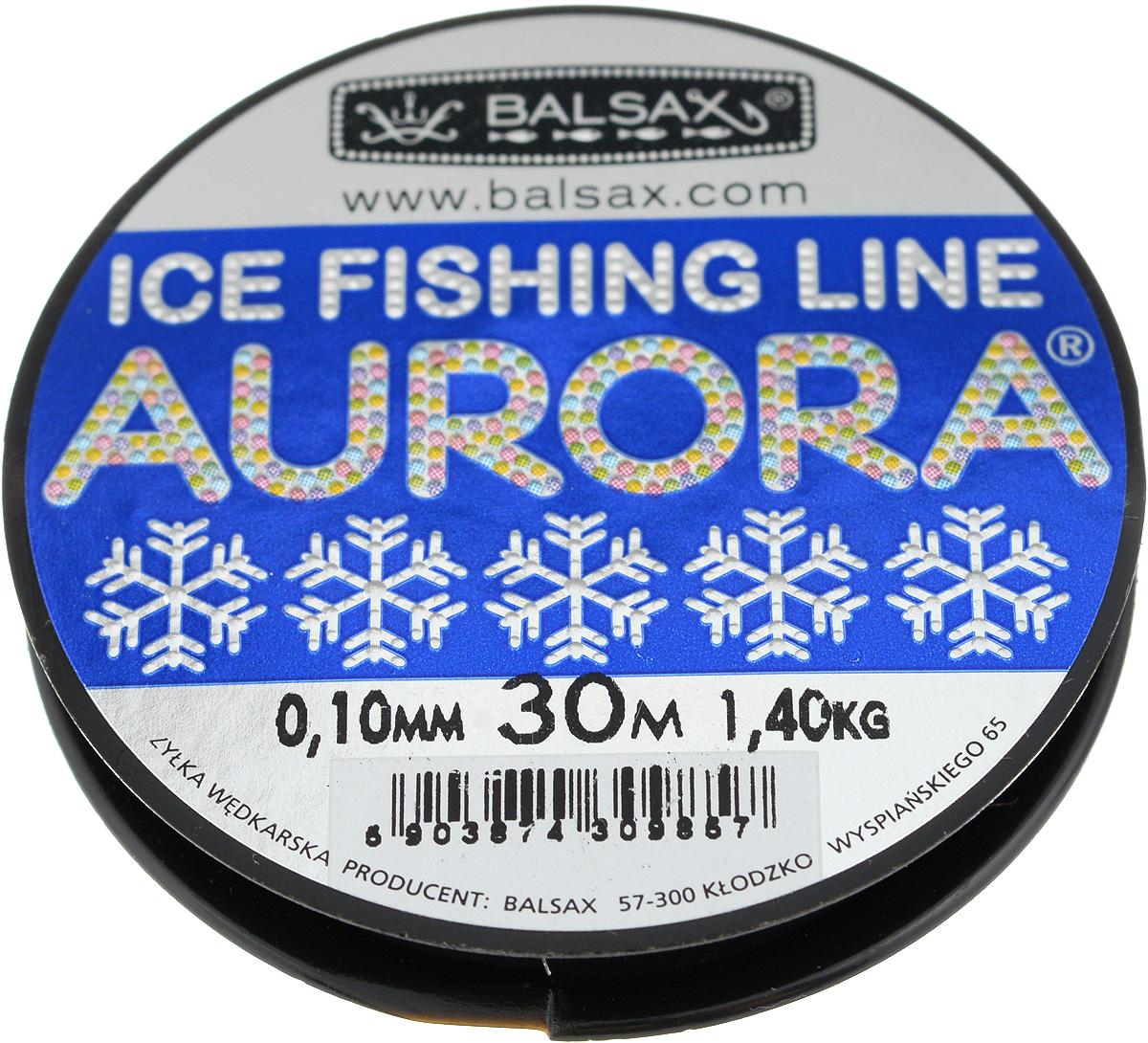 Леска зимняя Balsax Aurora, 30 м, 0,10 мм, 1,4 кг0036418Леска Balsax Aurora изготовлена из 100% нейлона и очень хорошо выдерживает низкие температуры. Даже в самом холодном климате, при температуре вплоть до -40°C, она сохраняет свои свойства практически без изменений, в то время как традиционные лески становятся менее эластичными и теряют прочность.Поверхность лески обработана таким образом, что она не обмерзает и отлично подходит для подледного лова. Прочна в местах вязки узлов даже при минимальном диаметре.