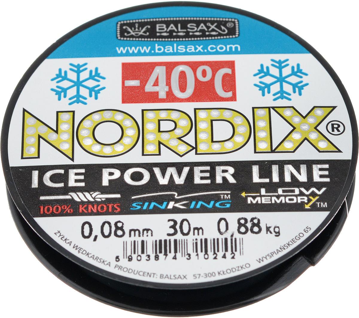Леска зимняя Balsax Nordix, 30 м, 0,08 мм, 0,88 кгPGPS7797CIS08GBNVЛеска Balsax Nordix изготовлена из 100% нейлона и очень хорошо выдерживает низкие температуры. Даже в самом холодном климате, при температуре вплоть до -40°C, она сохраняет свои свойства практически без изменений, в то время как традиционные лески становятся менее эластичными и теряют прочность.Поверхность лески обработана таким образом, что она не обмерзает и отлично подходит для подледного лова. Прочна в местах вязки узлов даже при минимальном диаметре.
