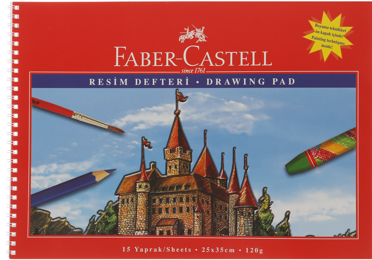 Faber-Castell Блокнот для рисования 15 листов формат А40703415Блокнот для рисования Faber-Castell идеален для рисунков, эскизов.Внутренний блок на пластиковой спирали состоит из 15 листов белоснежной бумаги формата А4. Листы с микроперфорацией для удобного отрывания. Обложка выполнена из цветного прочного картона.
