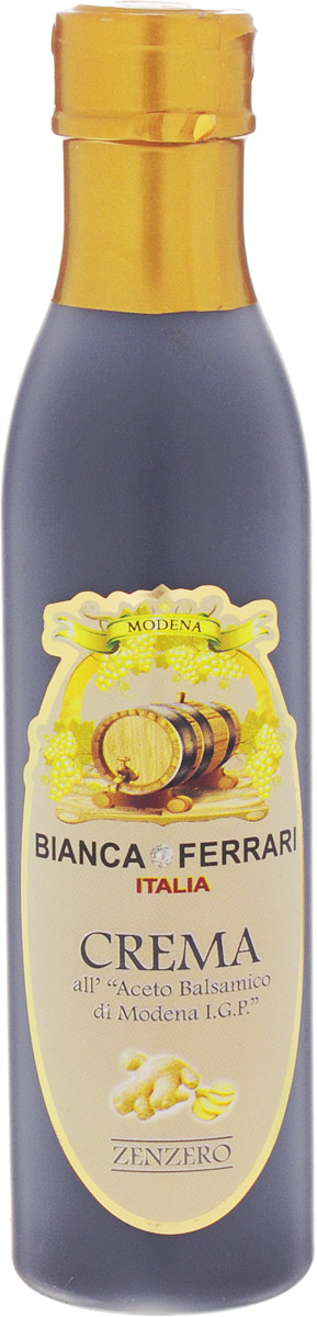 Bianca Ferrari ди Модена Имбирь крем-соус на основе бальзамического уксуса, 250 млPF773Крем-соус с имбирем Bianca Ferrari Crema Zenzero - это заправка на базе бальзамического уксуса из Модены. Бальзамический крем — густой и вязкий, его не подвергают тепловой обработке и используют в качестве украшения, приправы или дрессинга к салатам, мясу, рыбе, десертам и другим блюдам. Как и бальзамический уксус, крем богат минералами, антиоксидантами и витаминами группы B.Уважаемые клиенты! Обращаем ваше внимание, что полный перечень состава продукта представлен на дополнительном изображении.