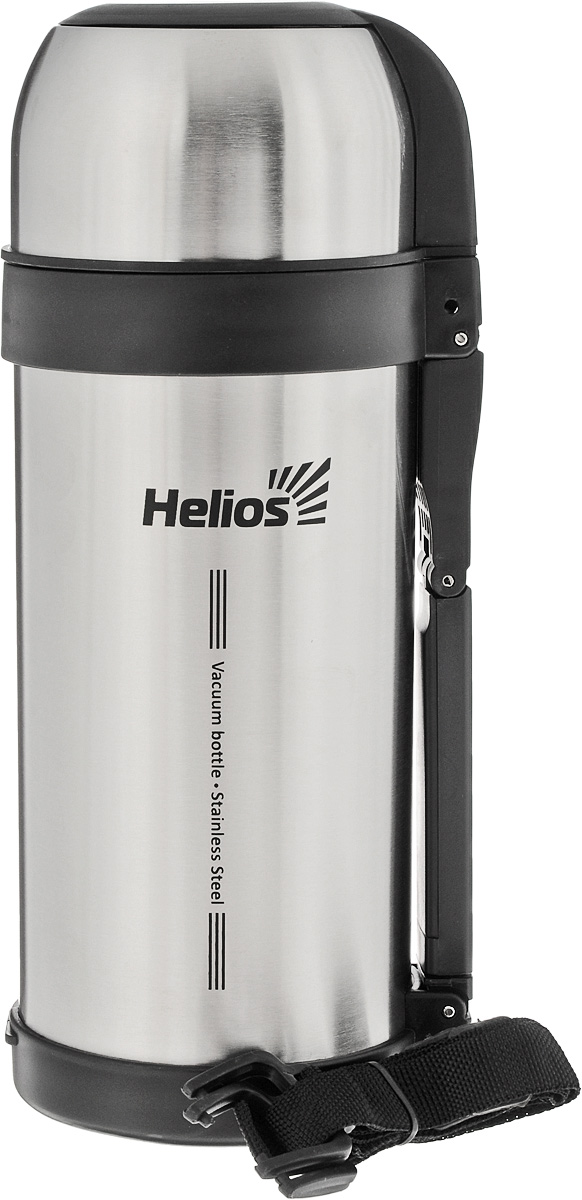 Термос HeliosHS TM-002,1,5 л67742Универсальный термос Helios HS TM-002 оснащен широким горлом и двойными стенками с вакуумной изоляцией, которая позволяет сохранять напитки горячими и холодными длительное время. Конструкция пробки позволяет использовать термос как для напитков, так и для первых и вторых блюд. Кнопочный клапан на пробке дает возможность при наливании не открывать термос целиком для сохранения температуры содержимого. Термос имеет складную ручку для удобства наливания содержимого, также в комплекте наплечный ремень для транспортировки и инструкция по эксплуатации. Крышка может послужить вместительной чашей. Диаметр горлышка: 7,5 см.Диаметр основания термоса: 11 см.Высота термоса (с учетом крышки): 29 см.