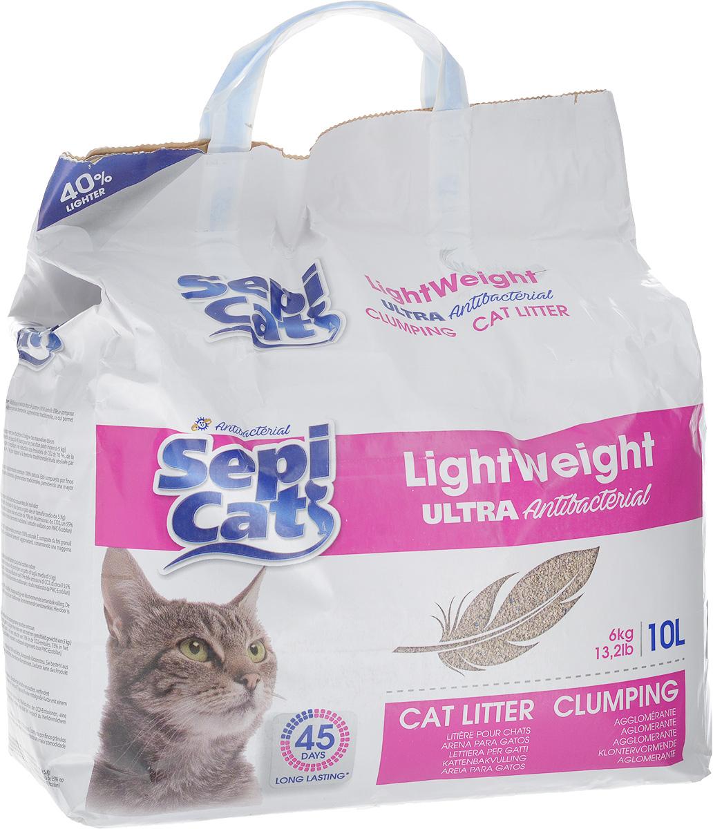 Наполнитель для кошачьих туалетов SepiCat Антибактериальный, комкующийся, облегченный, ультра, 10 л0120710Комплектующий наполнитель для кошачьих туалетов SepiCat Антибактериальный состоит из мелкозернистых суперадсорбирующих глиняных гранул, которые на 40% легче традиционных комкующихся бентонитов, что облегчает уход и использование продукта.Преимущества наполнителя SepiCat Антибактериальный:- прекрасно комкуется,- очень экономно расходуется,- содержит сильный бактерицидный агент, препятствующий росту бактерий, которые вызывают появление неприятного запаха.Товар сертифицирован.