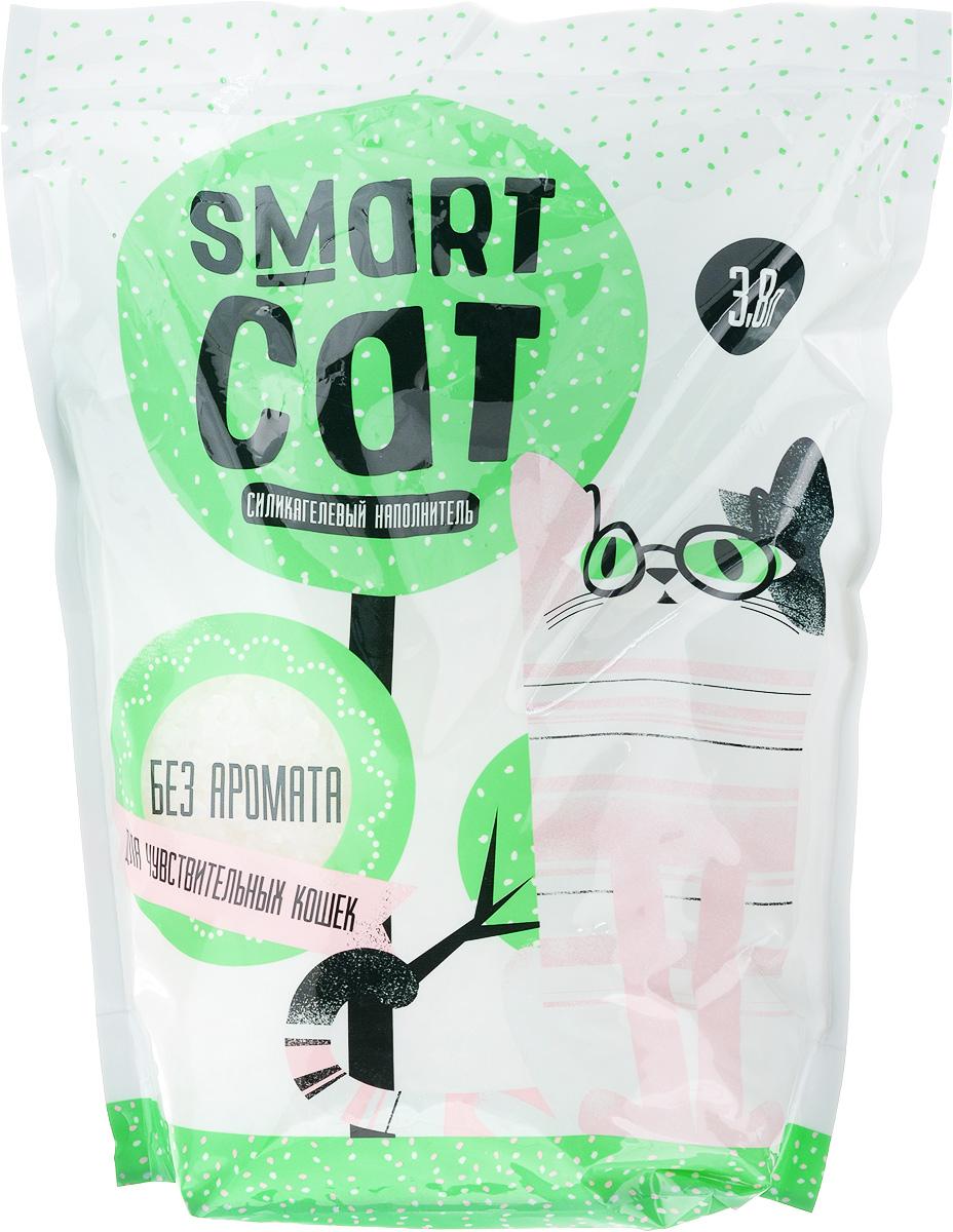 Наполнитель для кошачьих туалетов Smart Cat, силикагелевый, для чувствительных кошек, без аромата, 3,8 л0120710Силикагелевый наполнитель Smart Cat представляет собой мелкие белоснежные гранулы, изготовленные из сухого геля поликремниевой кислоты. Такой состав обладает прекрасной способностью впитывать жидкость, а также мгновенно поглощать и удерживать туалетные запахи.Наполнитель Smart Cat не вызывает у питомцев аллергических реакций, не поднимает пыль при использовании и не прилипает к нежным кошачьим лапкам и длинной шерсти, а значит, не разносится по окружающей туалет территории. Использованный наполнитель из силикагеля удаляется из кошачьего лотка специальным совочком и утилизируется в мусорное ведро (его нельзя выбрасывать в унитаз).Специальная формула без запаха разработана для кошек с особо чувствительным обонянием.Наполнитель Smart Cat заботится о чистоте вашего дома и комфорте питомца! Товар сертифицирован.