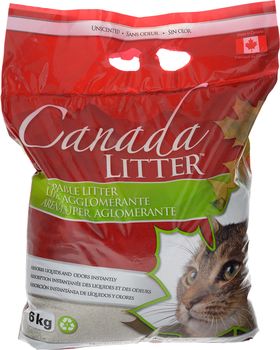 Наполнитель для кошачьих туалетов Canada Litter Запах на замке, комкующийся, без запаха, 6 кг0120710Комкующийся наполнитель Canada Litter Запах на замке - канадский наполнитель супер-премиум класса, изготовленный из натриевого бентонита. Преимущества наполнителя Canada Litter Запах на замке:- впитывает 350% влаги (в 3,5 раза больше собственного веса),- специальные гранулы напоминают кошке ее естественную среду,- обладает высокой впитывающей и комкующей способностью,- бентонит - высококачественная глина, которая быстро поглощает запахи, легко комкуется в большие твердые комочки и весьма экономична в расходовании.Товар сертифицирован.