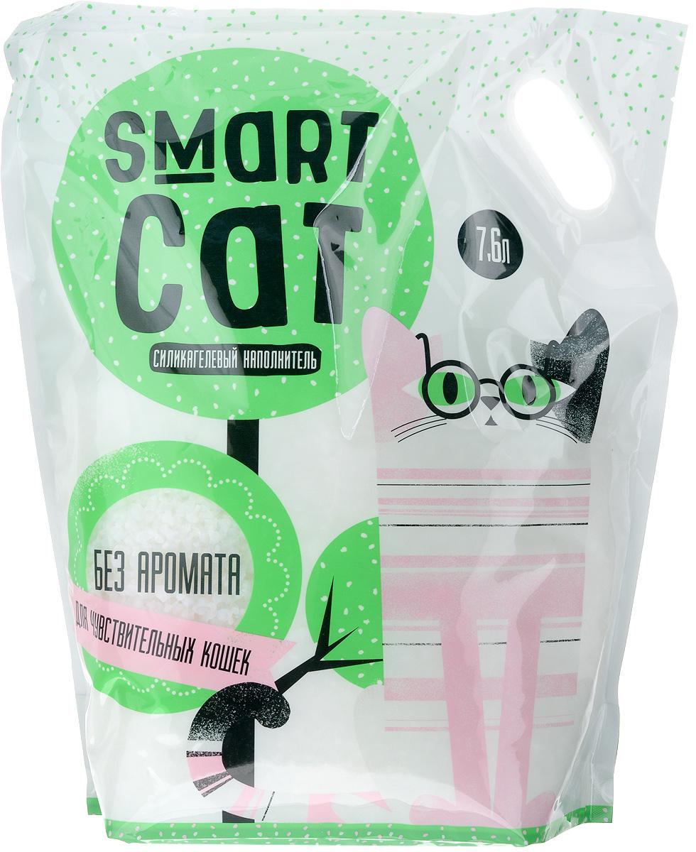 Наполнитель для кошачьих туалетов Smart Cat, силикагелевый, для чувствительных кошек, без аромата, 7,6 л0120710Силикагелевый наполнитель Smart Cat представляет собой мелкие белоснежные гранулы, изготовленные из сухого геля поликремниевой кислоты. Такой состав обладает прекрасной способностью впитывать жидкость, а также мгновенно поглощать и удерживать туалетные запахи.Наполнитель Smart Cat не вызывает у питомцев аллергических реакций, не поднимает пыль при использовании и не прилипает к нежным кошачьим лапкам и длинной шерсти, а значит, не разносится по окружающей туалет территории. Использованный наполнитель из силикагеля удаляется из кошачьего лотка специальным совочком и утилизируется в мусорное ведро (его нельзя выбрасывать в унитаз).Специальная формула без запаха разработана для кошек с особо чувствительным обонянием.Наполнитель Smart Cat заботится о чистоте вашего дома и комфорте питомца! Товар сертифицирован.