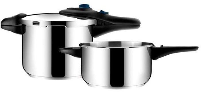 Скороварка Tescoma Presto Duo , 4,0 и 6,0 л. 70151054 009312Набор скороварок Tescoma Presto Duo , 4,0 и 6,0 л изготовлены из высококачественной нержавеющей стали. - позволяет готовить при низком или высоком давлении, что способствует сохранению натурального вкуса и пищевой ценности блюд.- массивные ручки – не обжигают руки!- экстратолстое сэндвичевое дно – препятствует пригоранию.- элегантный дизайн. - современный штыковой затвор.- подходит для газовых, электрических, стеклокерамических и индукционных плит.- универсальная крышка на две кастрюли.