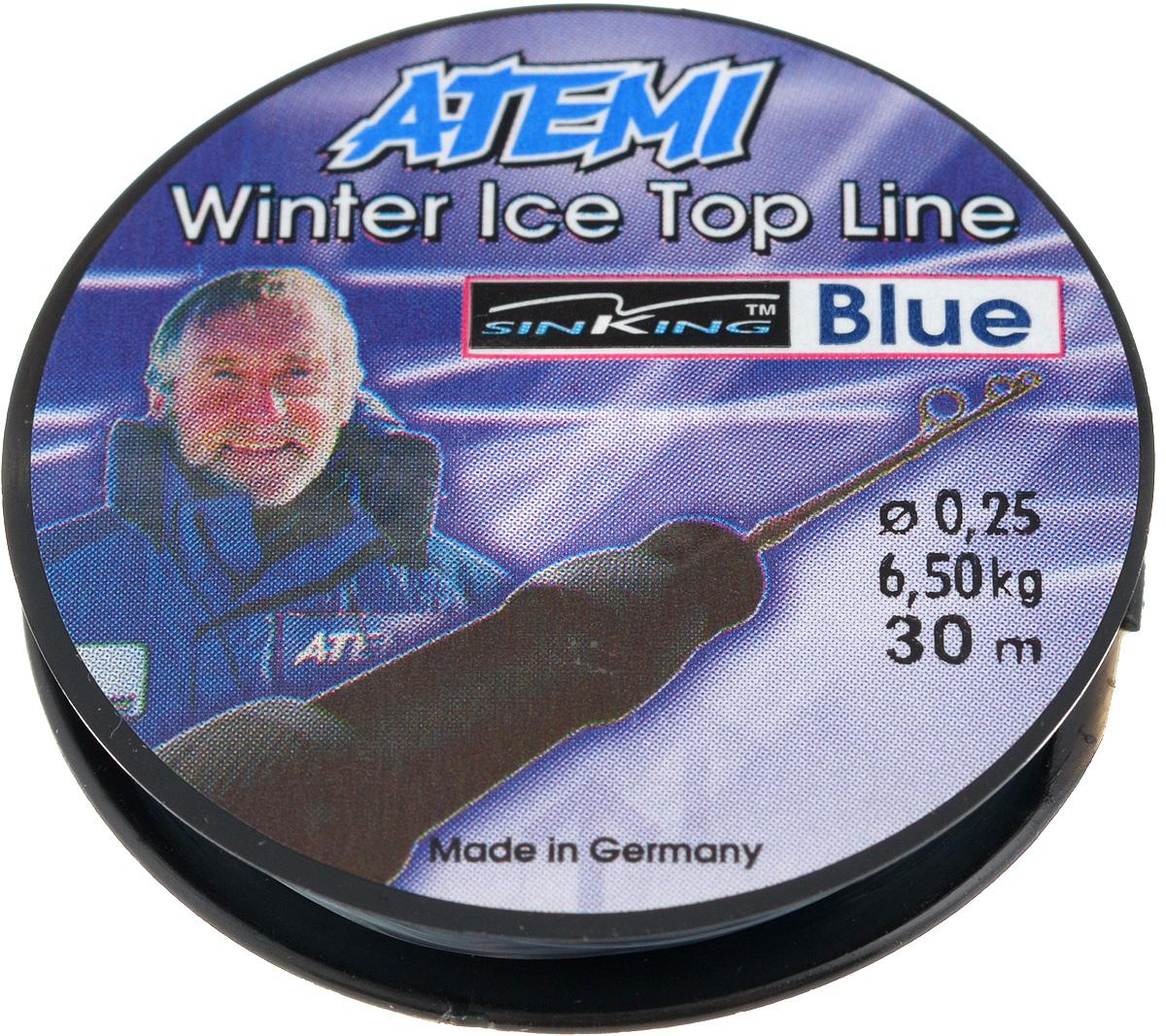 Леска зимняя Atemi Winter Blue, 30 м, 0,25 мм, 6,5 кг59271Леска Atemi Winter Blue, изготовленная из 100% нейлона, очень хорошо выдерживает низкие температуры и идеальна для ловли карпа. Даже в самом холодном климате она сохраняет свои свойства практически без изменений, в то время как традиционные лески становятся менее эластичными и теряют прочность.Поверхность лески обработана таким образом, что она не обмерзает и отлично подходит для подледного лова.