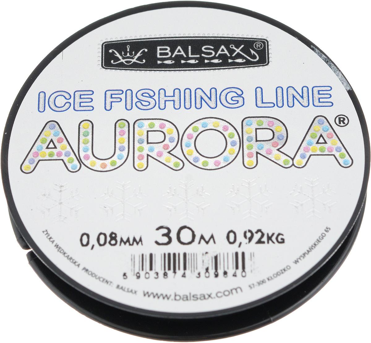 Леска зимняя Balsax Aurora, 30 м, 0,08 мм, 0,92 кг59273Леска Balsax Aurora изготовлена из 100% нейлона и очень хорошо выдерживает низкие температуры. Даже в самом холодном климате, при температуре вплоть до -40°C, она сохраняет свои свойства практически без изменений, в то время как традиционные лески становятся менее эластичными и теряют прочность.Поверхность лески обработана таким образом, что она не обмерзает и отлично подходит для подледного лова. Прочна в местах вязки узлов даже при минимальном диаметре.