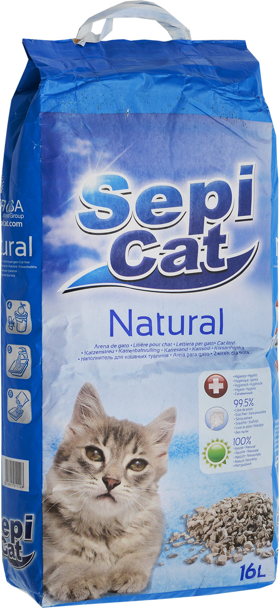 Наполнитель для кошачьих туалетов SepiCat Натуральный, впитывающий, 16 л0120710Экологически чистый высококачественный впитывающий наполнитель SepiCat Натуральный предназначен для кошачьего туалета. Изготовлен из 100% натуральных минеральных компонентов. Безопасен для животного и для человека. Наполнитель быстро и эффективно впитывает и удерживает большое количество влаги, надежно поглощает запах, не допускает появления неприятного запаха вновь. Очень комфортен в использовании. Обладает высокими гигиеническими свойствами и прост в применении. Состав: аттапульгит, минеральные добавки.Товар сертифицирован.