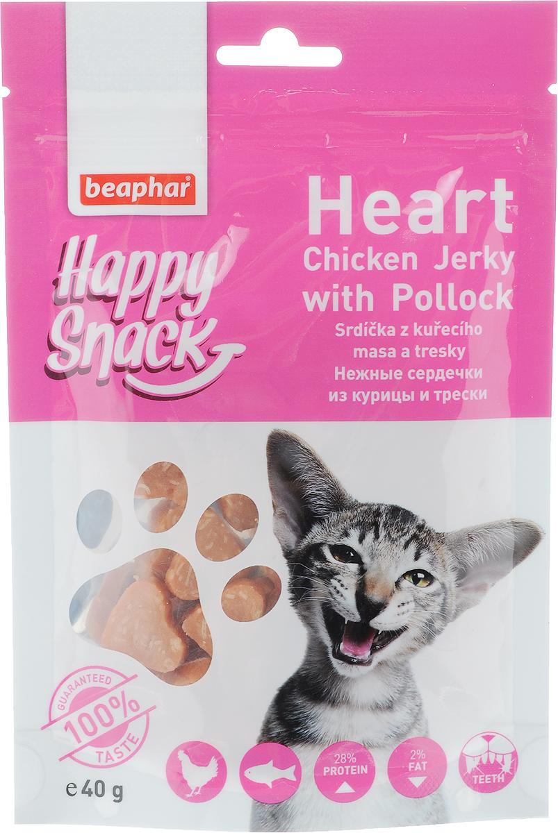Лакомство для кошек Beaphar Happy Snack, нежные сердечки из курицы и трески, 40 г0120710Лакомство для котят Beaphar Happy Snack - дополнительный корм для кошек и котят с 3-месячного возраста в виде нежных сердечек из курицы и трески. Лакомство понравится даже самым искушенным кошачьим гурманам. Специальный замок zip-lock на упаковке позволяет дольше хранить лакомство. Товар сертифицирован.